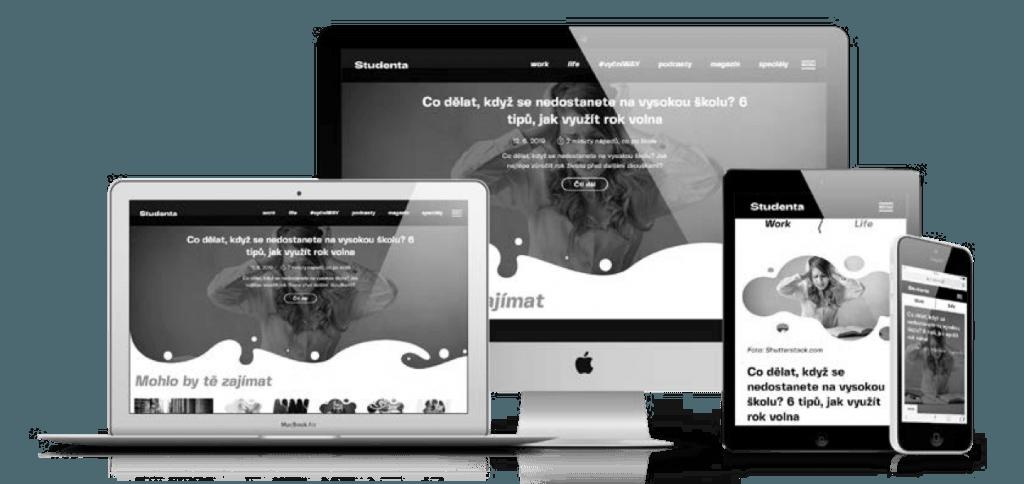 Webová stránka Studenty na různých zařízeních